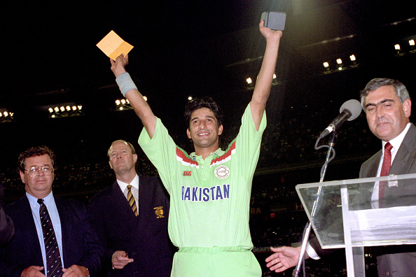 Wasim Akram with his Man of Finals prize in !992 World Cup which Pakistan won | Getty