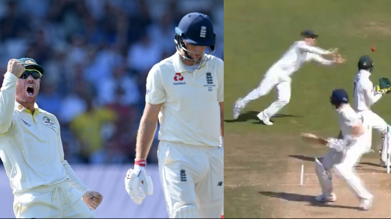 Ashes 2019: WATCH – David Warner takes a blinder behind the keeper to remove Joe Root for 77 runs