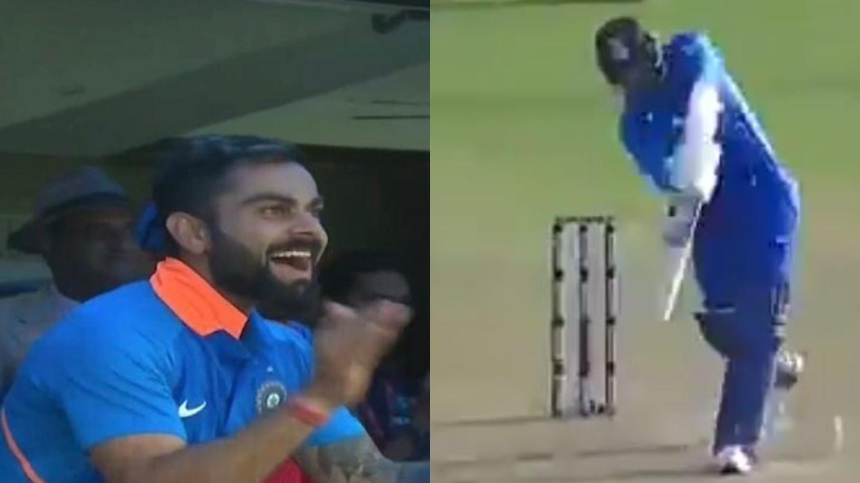 IND v AUS: WATCH- Jasprit Bumrah smacks a six off last ball of the innings; Virat Kohli admires the shot