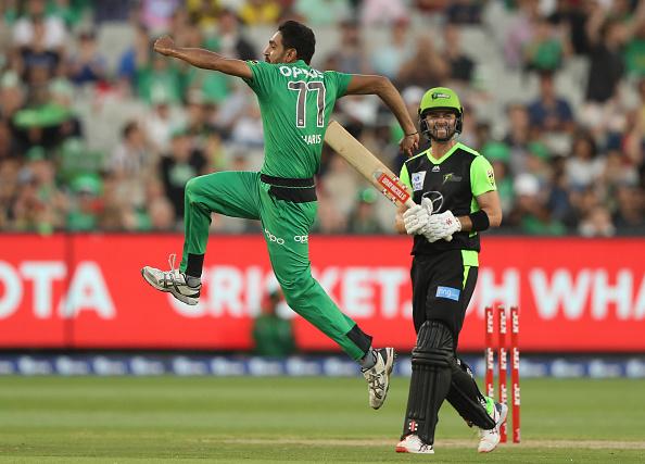 Haris Rauf celebrates after taking the wicket of Callum Ferguson   Getty