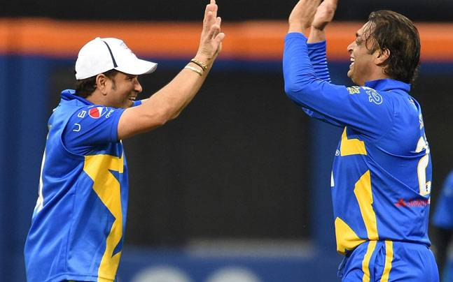 Sachin and Shoaib during the Cricket All Stars 2015 tournament. (PTI)