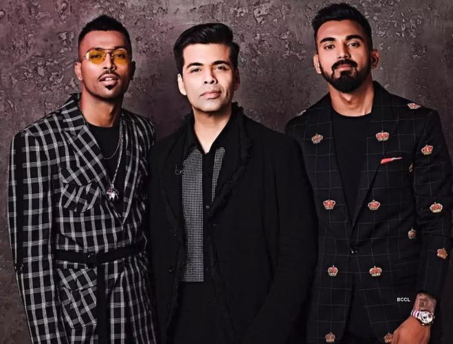 Hardik Pandya and KL Rahul with Karan Johar | Hotstar