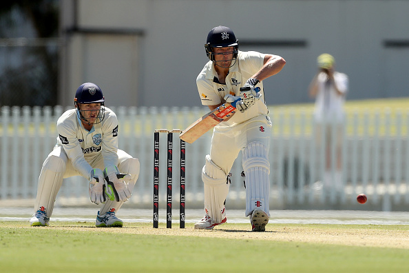 Marcus Harris bats during one of the Sheffield Shield match between Victoria and New South Wales | Getty