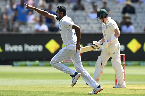 Ashwin celebrates the wicket of Smith at MCG | Getty
