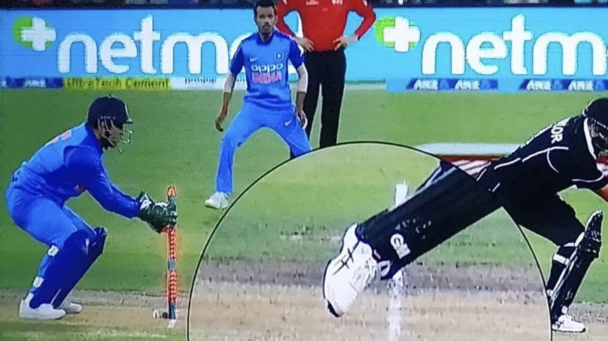 NZ v IND 2019: WATCH – MS Dhoni's split-second stumping sends Ross Taylor back in second ODI