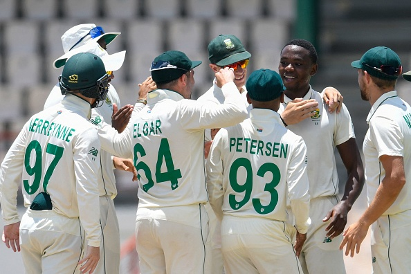 Kagiso Rabada celebrates his fifer since March 2018 with teammates   Getty Images