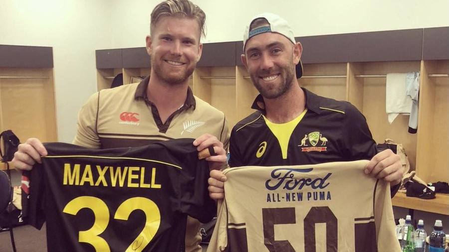 NZ v AUS 2021: Jimmy Neesham funnily mentions his 28-run over on signed jersey for Glenn Maxwell