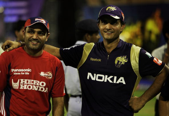 Sourav Ganguly with Virender Sehwag | GETTY