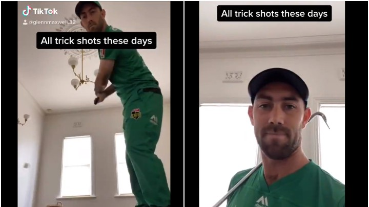WATCH - Glenn Maxwell takes a dig at all the ' Trick shot' videos on TikTok