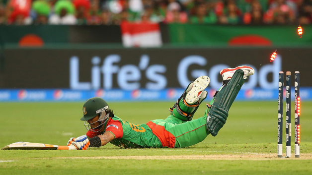 Watch: Mahmudullah to get his anger out at the railings of the staircase after his run-out in the final