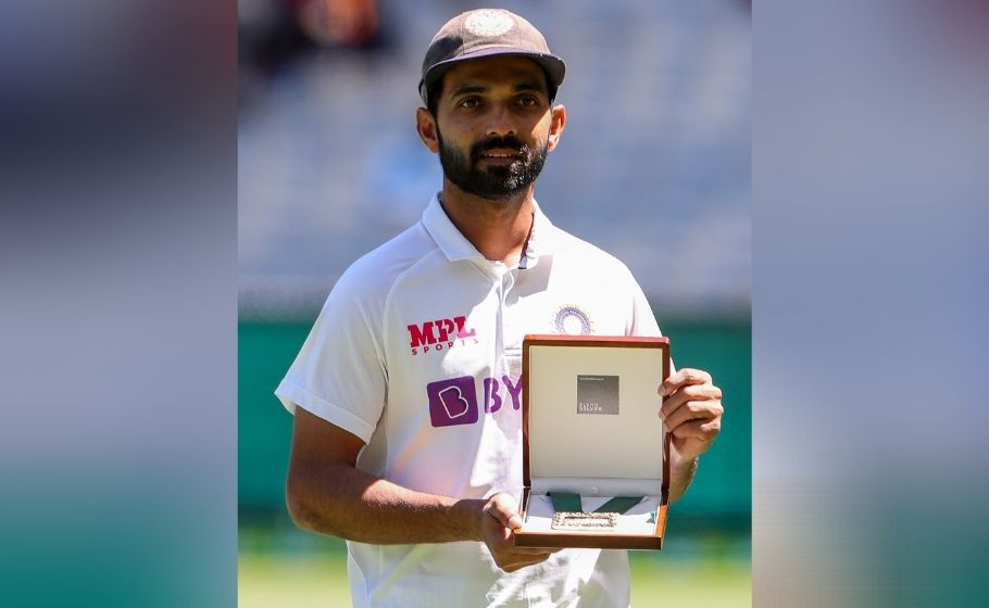Rahane won the Jonny Mullagh medal for being the Player of the Match for his 112 and 27*   Twitter