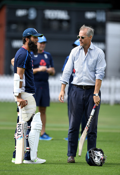 Moeen Ali (L) and England chief selector Ed Smith (R)   Getty