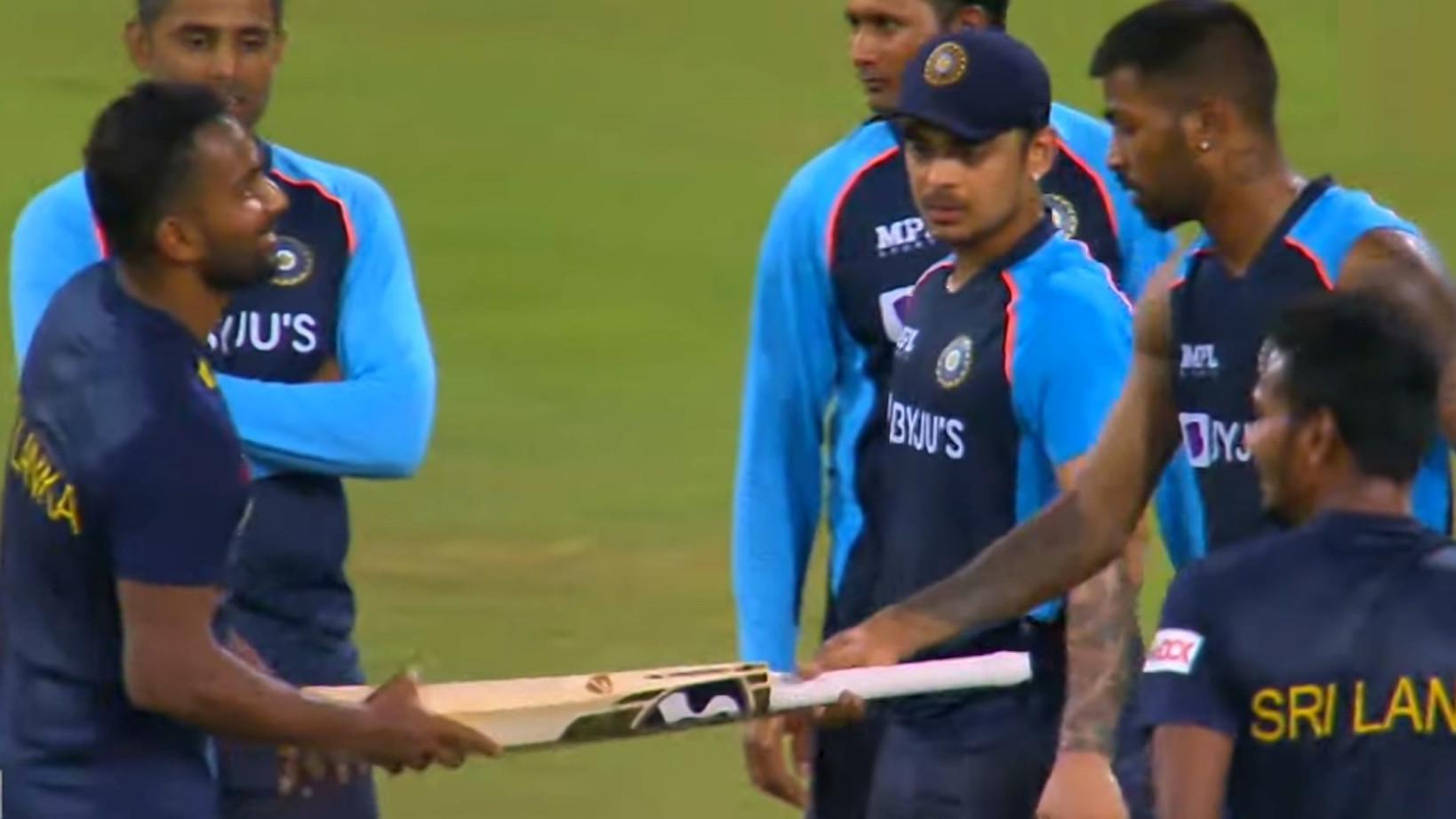 SL v IND 2021: WATCH – Chamika Karunaratne thanks 'role model' Hardik Pandya for gifting him a bat