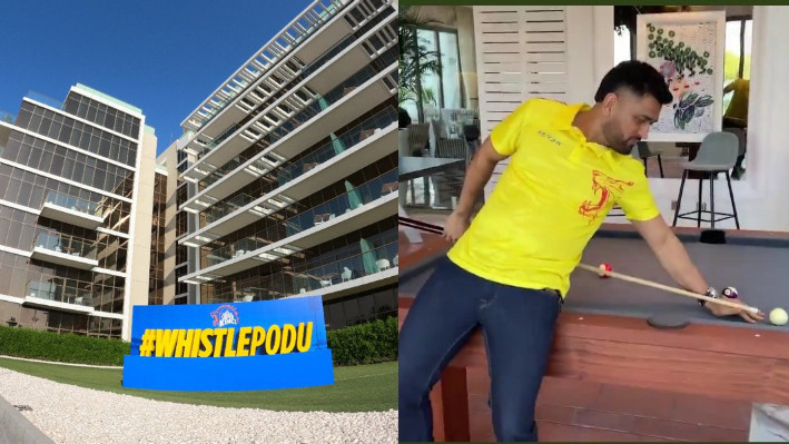 IPL 2021: WATCH - CSK reach their stay in Dubai; MS Dhoni shows off his billiards skills