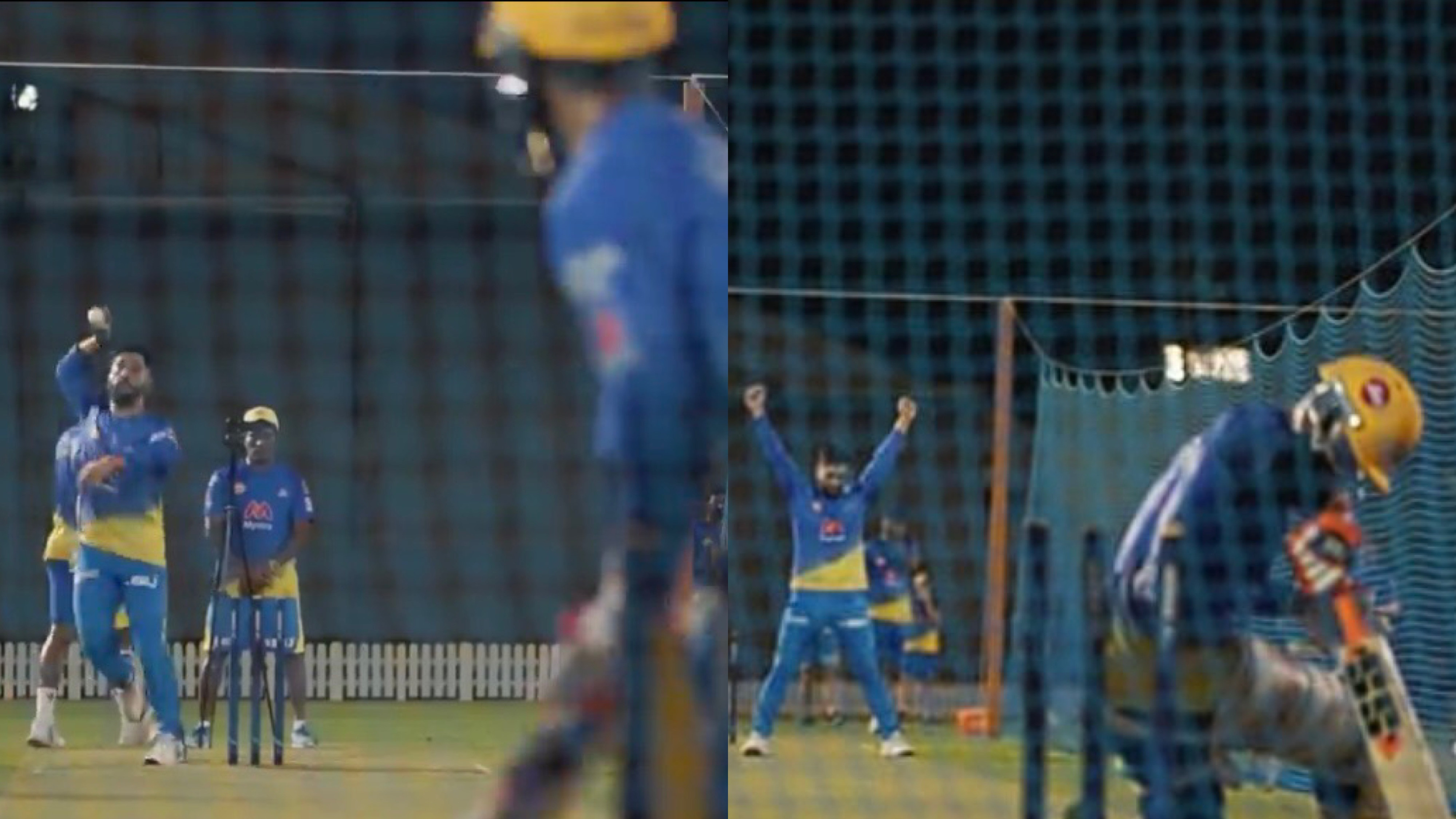 IPL 2021: WATCH - '7 vs 8' MS Dhoni and Ravindra Jadeja face-off at the nets