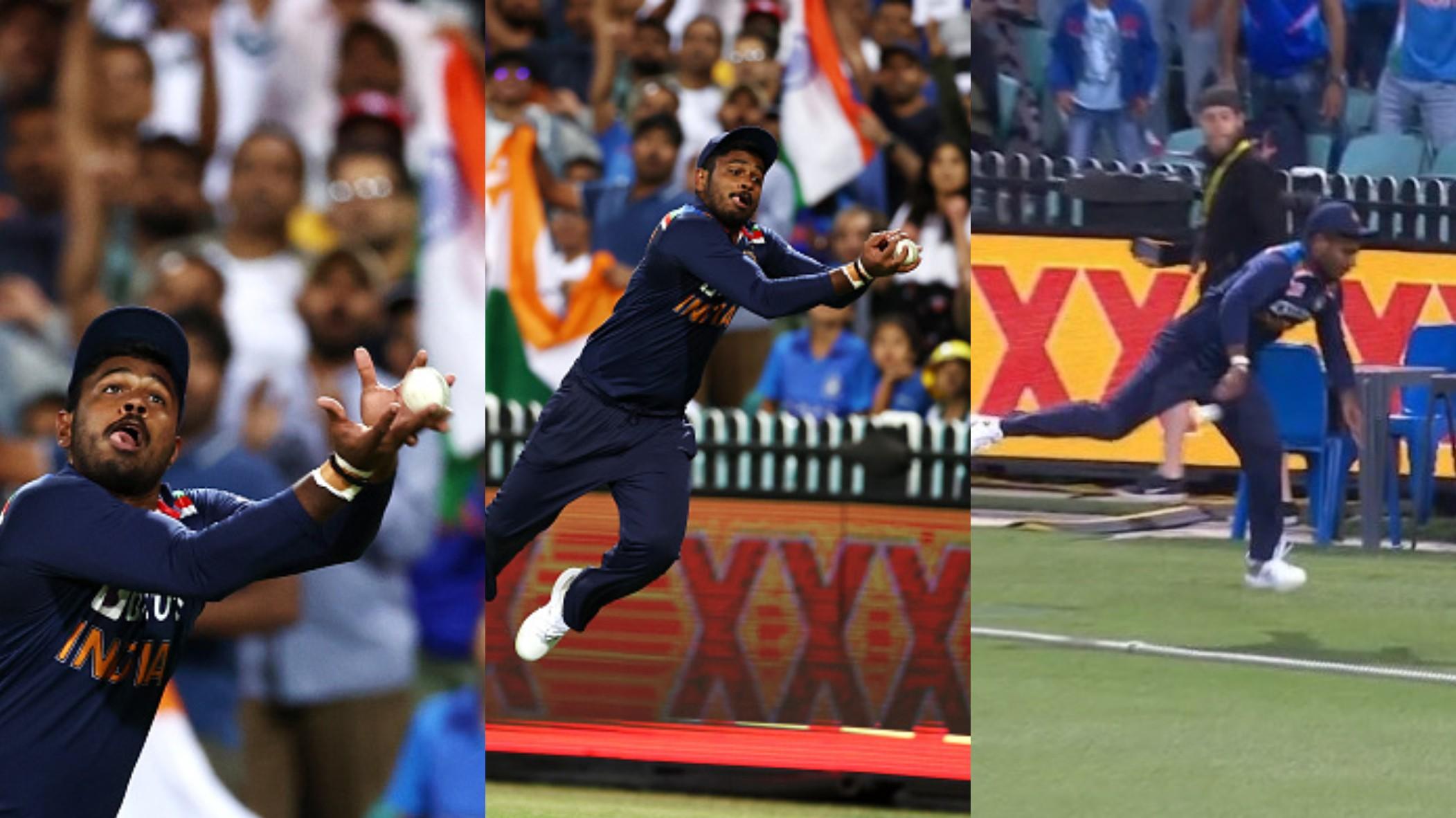 AUS v IND 2020-21: WATCH- Sanju Samson's acrobatic dive saves a sure six