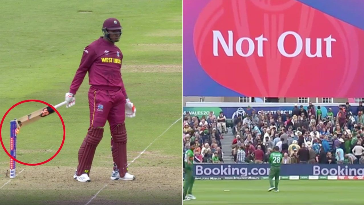 CWC 2019: WATCH – Oshane Thomas adjudged 'not out' despite hitting the wickets with his bat