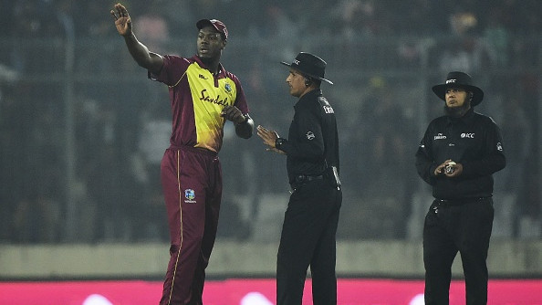 West Indies skipper Carlos Braithwaite had a lengthy discussion with on-field umpires at the time | AFP