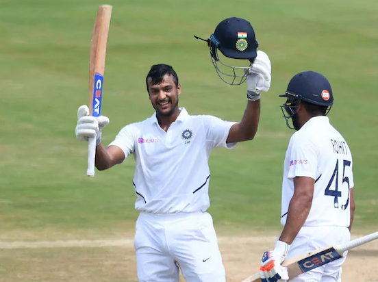Agarwal celebrate his maiden Test ton in Vizag | AFP