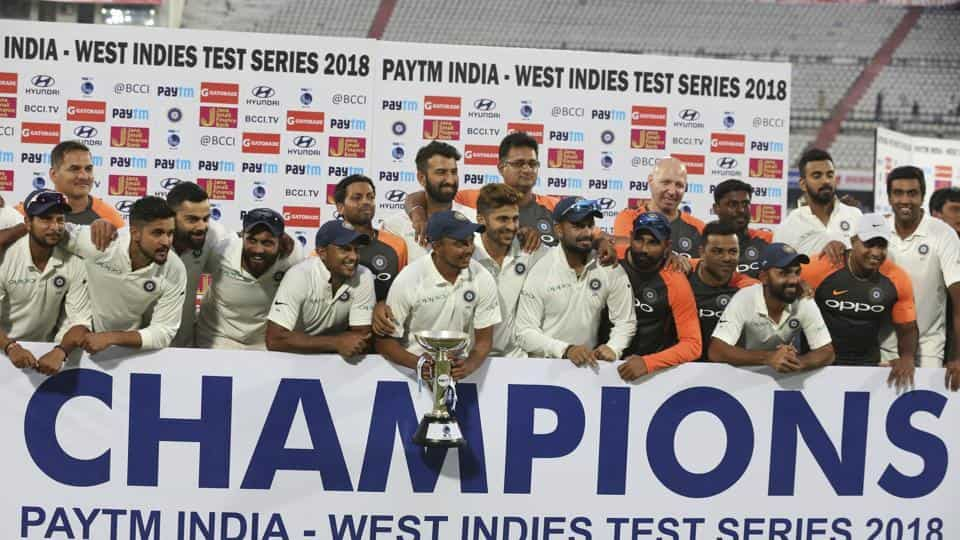 Team India won the Test series 2-0 against the West Indies | Twitter