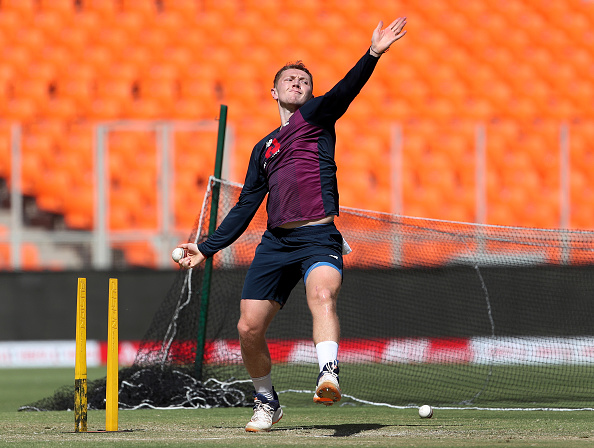 England off-spinner Dom Bess practicing before the Test match against India   Getty