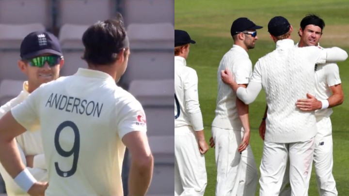 ENG v WI 2020: WATCH - James Anderson forgets social distancing guidelines in celebration of a wicket
