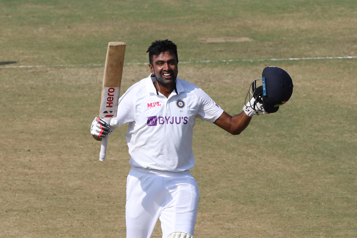 R Ashwin celebrating his 5th Test century | BCCI