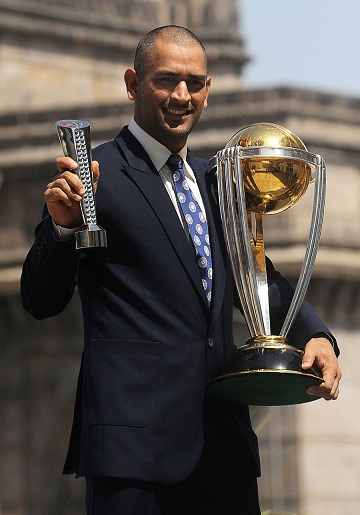 MS Dhoni with the 2011 World Cup