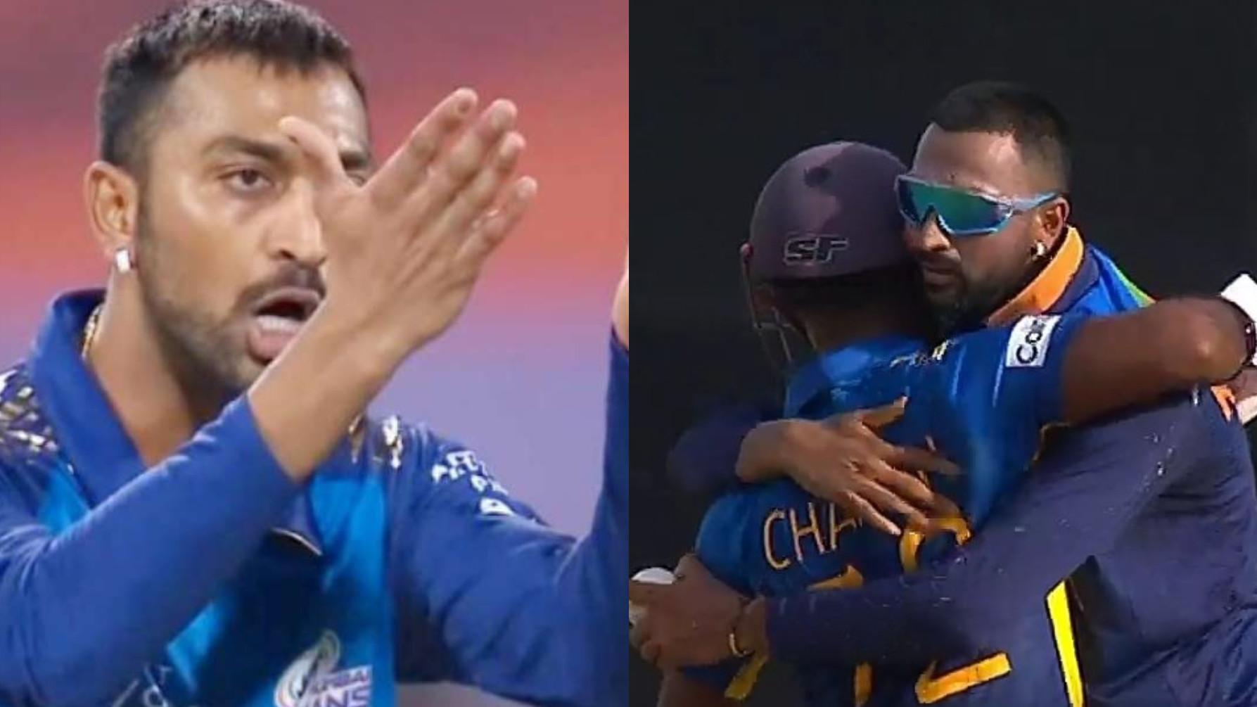 SL v IND 2021: Cricket fans react hilariously to Krunal Pandya hugging Charith Asalanka