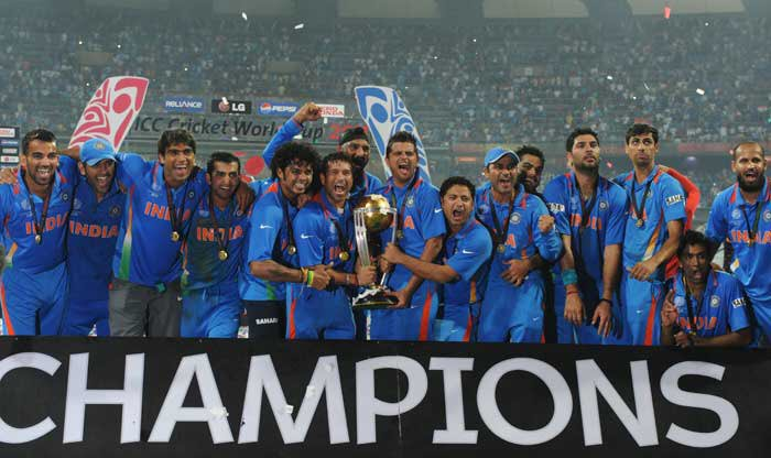 Team India players celebrate after winning the 2011 ICC Cricket World Cup | Getty