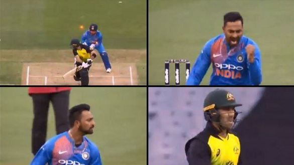 AUS v IND 2018: WATCH – Krunal Pandya dismisses Glenn Maxwell with a rip snorter of a delivery