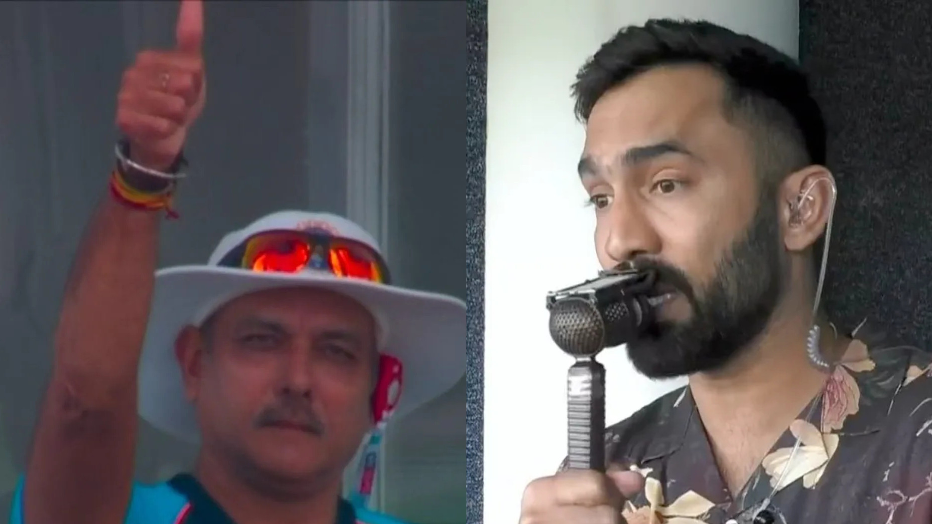 ENG v IND 2021: Ravi Shastri gives a thumbs up to Dinesh Karthik's commentary during 1st Test
