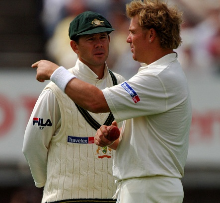 Shane Warne and Ricky Ponting having a chat during the 2005 Ashes series | Getty