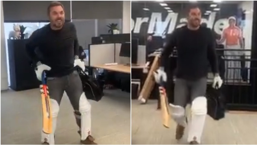Ashes 2019: WATCH - Dean Jones' British friend visits his office with batting pads and gloves on