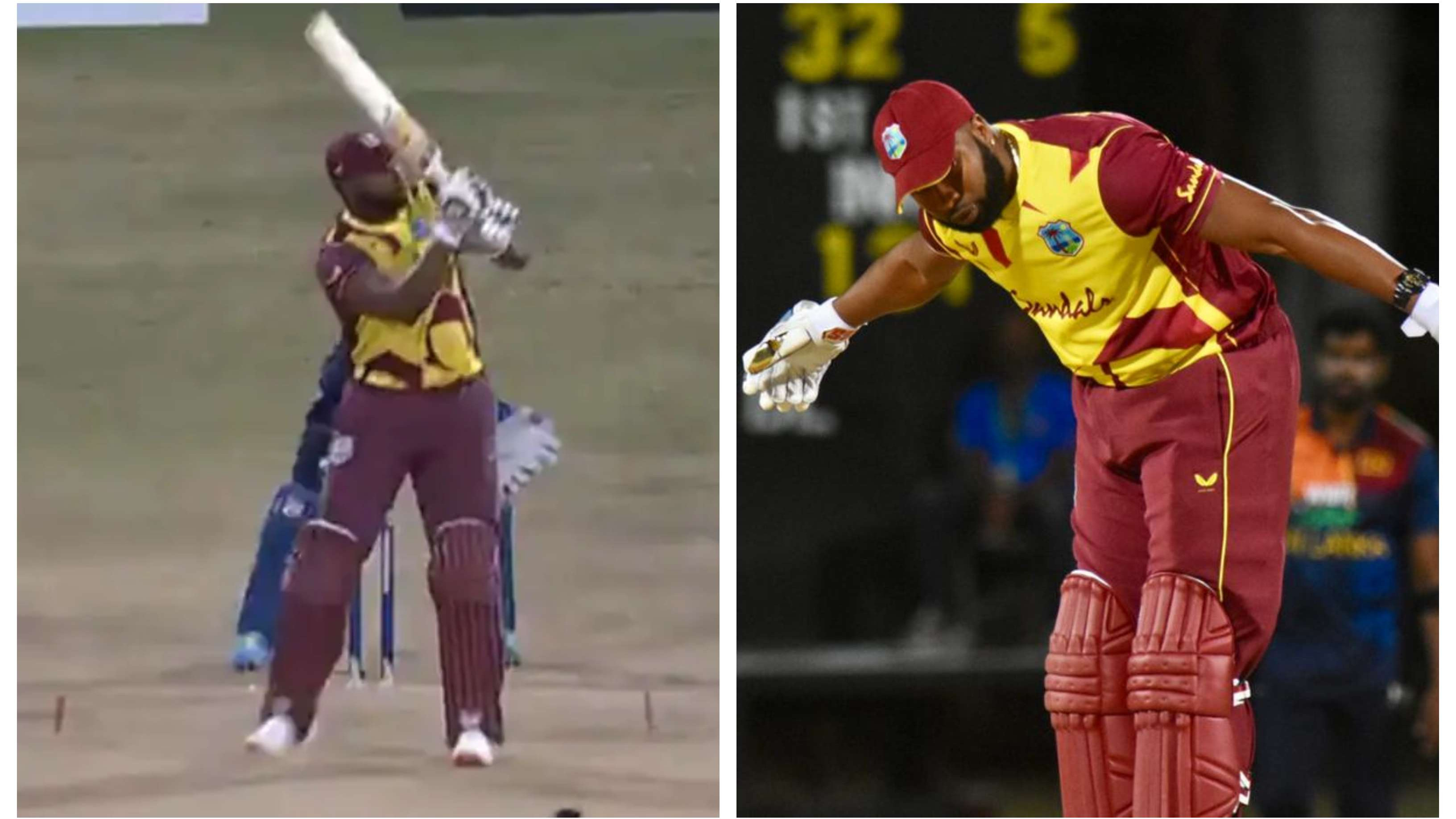 WI v SL 2021: WATCH – Kieron Pollard smashes 6 sixes in an over during first T20I against Sri Lanka