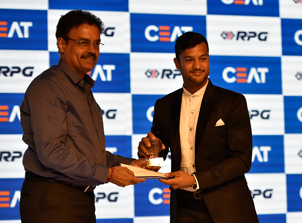 Dilip Vengsarkar presents Domestic Player of the Year Award to Indian cricketer Mayank Agarwal | Getty
