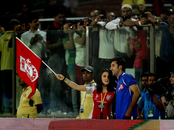 Preity Zinta cheering for her franchise Kings XI Punjab | GETTY