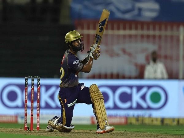 Rahul Tripathi playing a shot during his 81 runs knock against CSK in Abu Dhabi.