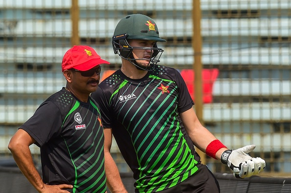 Sean Williams with coach Lalchand Rajput in Chittagong | Getty Images