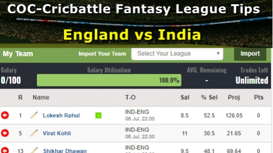 Fantasy Tips - England vs India on July 6