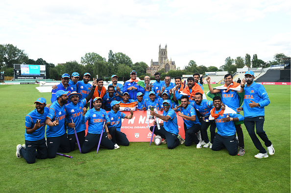 Indian team posing with the trophy | Getty Images
