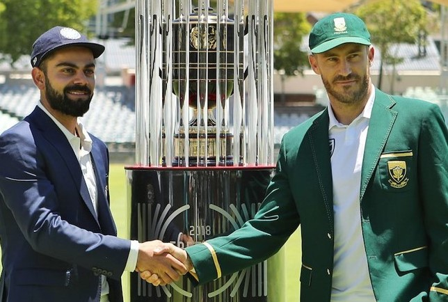Virat Kohli and Faf du Plessis with Freedom Series Trophy | BCCI