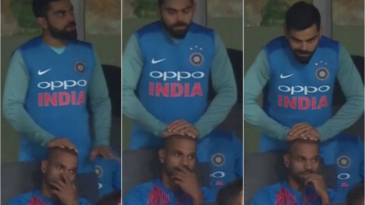 Watch: Virat Kohli gives a head massage to Shikhar Dhawan