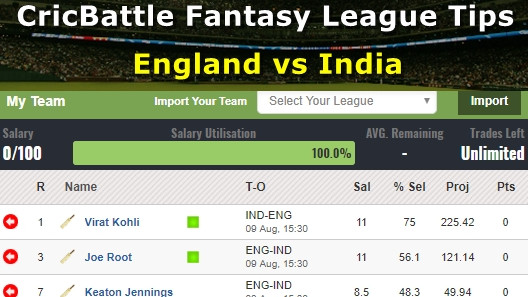Fantasy Tips - England vs India on August 9