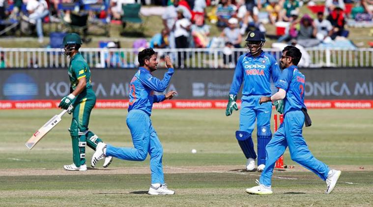 Kuldeep Yadav celebrates with teammates after dismissing JP Duminy | Reuters