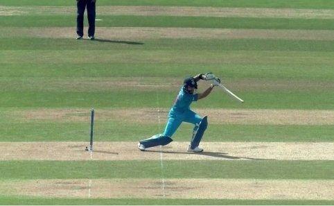 Virat Kohli plays a cover drive