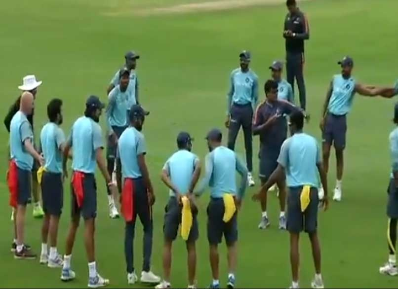 Team India's innovative fielding drill | Screen grab from ANI video