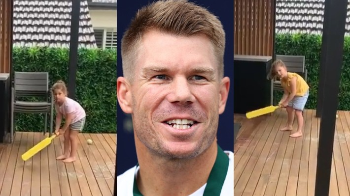 WATCH - David Warner's daughters impress him with their batting in backyard cricket
