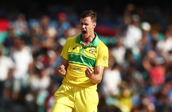 Jason Behrendorff celebrates after taking the wicket of Shikhar Dhawan in Sydney ODI | Getty