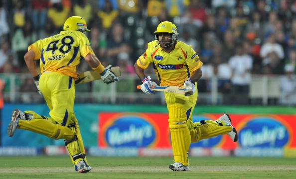 Michael Hussey and MS Dhoni playing for Chennai Super Kings | GETTY